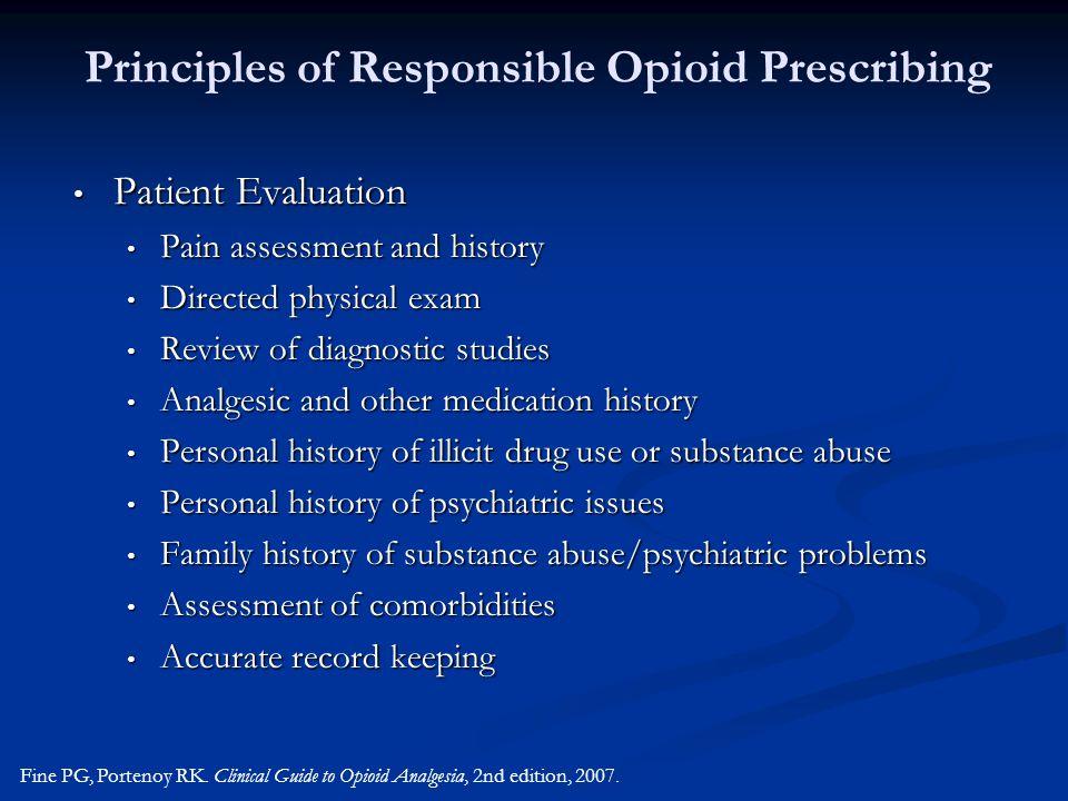 Principles of Responsible Opioid Prescribing