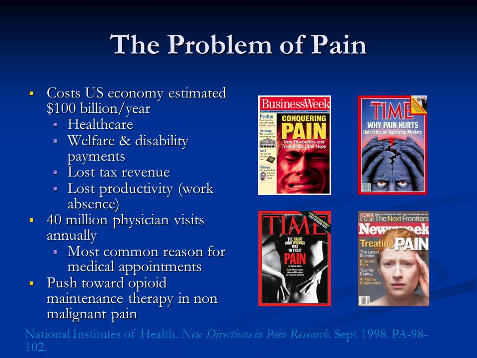 The Problem of Pain Costs US economy estimated $100 billion/year