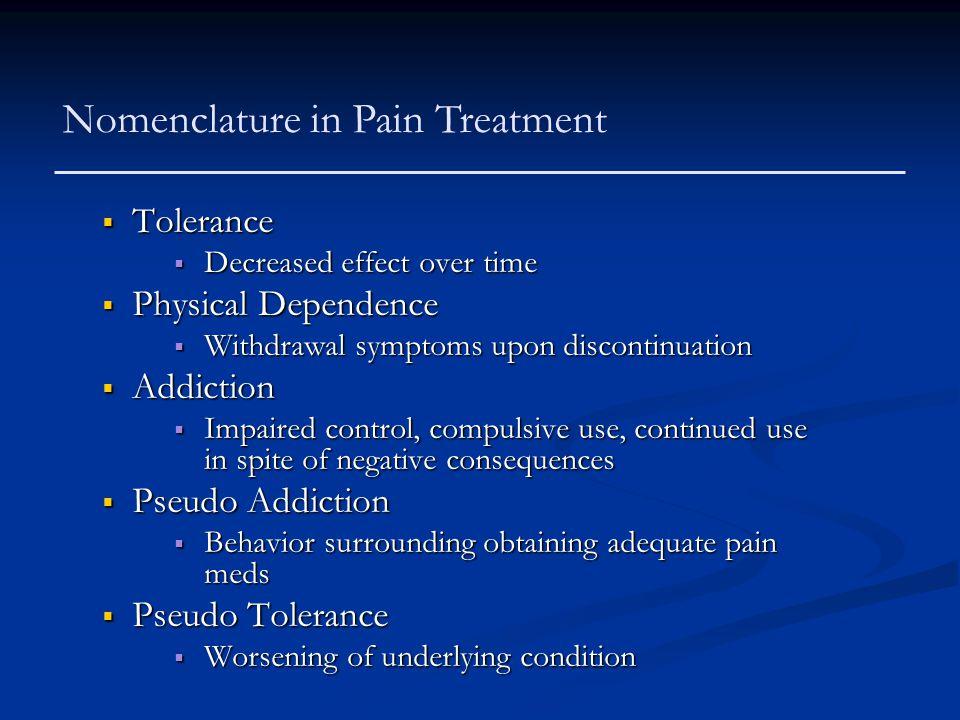Nomenclature in Pain Treatment