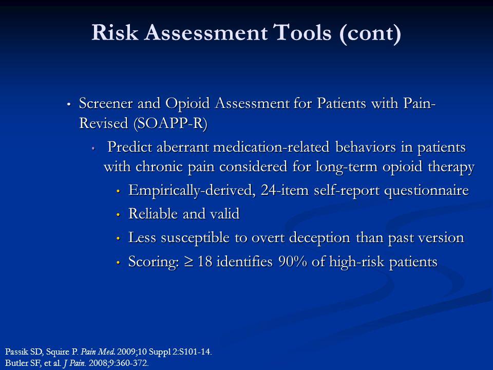 Risk Assessment Tools (cont)