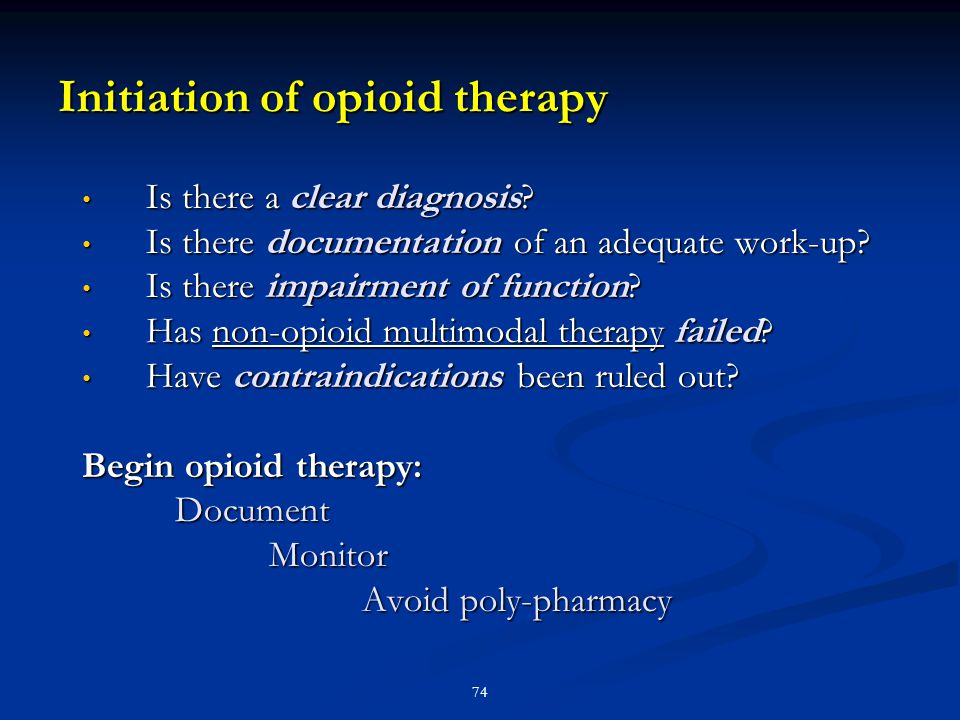 Initiation of opioid therapy