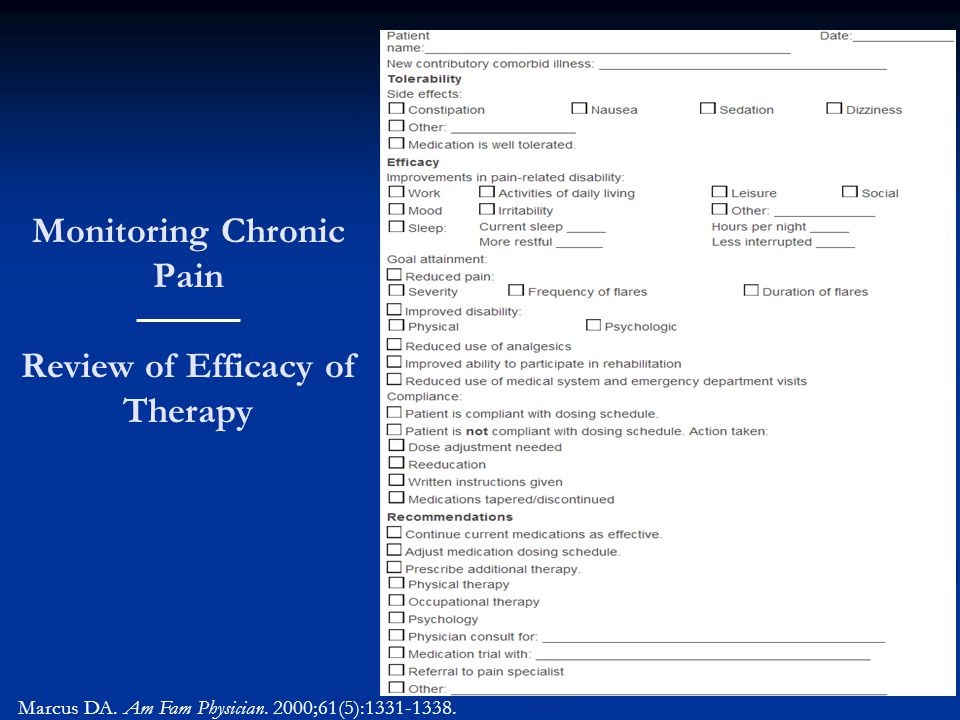 Monitoring Chronic Pain Review of Efficacy of Therapy