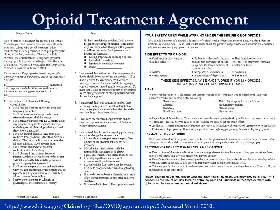Opioid Treatment Agreement