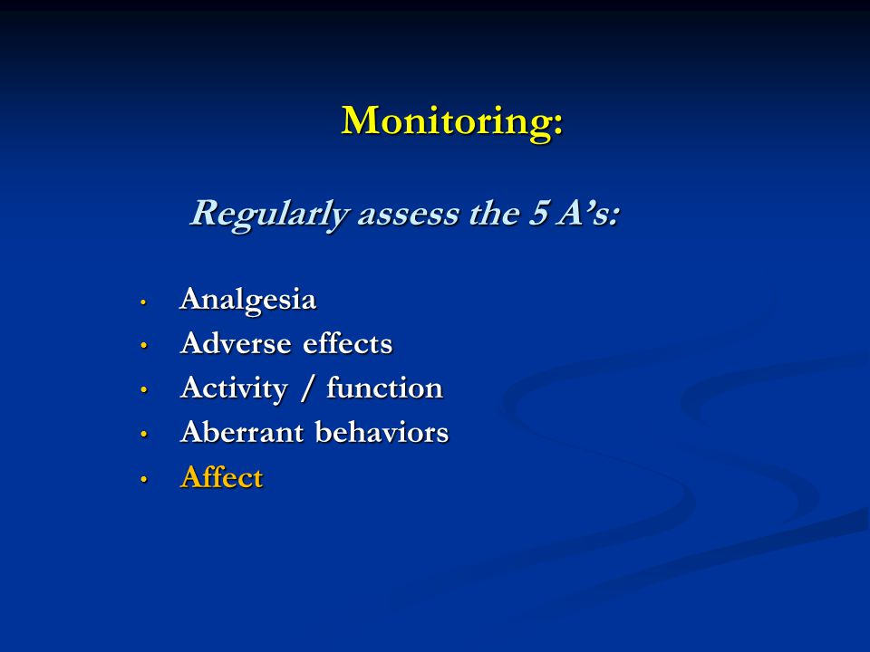 Monitoring: Regularly assess the 5 A's: Adverse effects