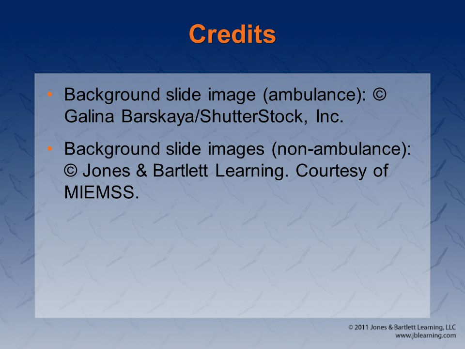 Credits Background slide image (ambulance): © Galina Barskaya/ShutterStock, Inc.