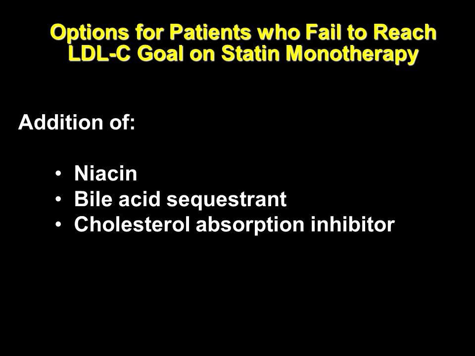 Options for Patients who Fail to Reach LDL-C Goal on Statin Monotherapy