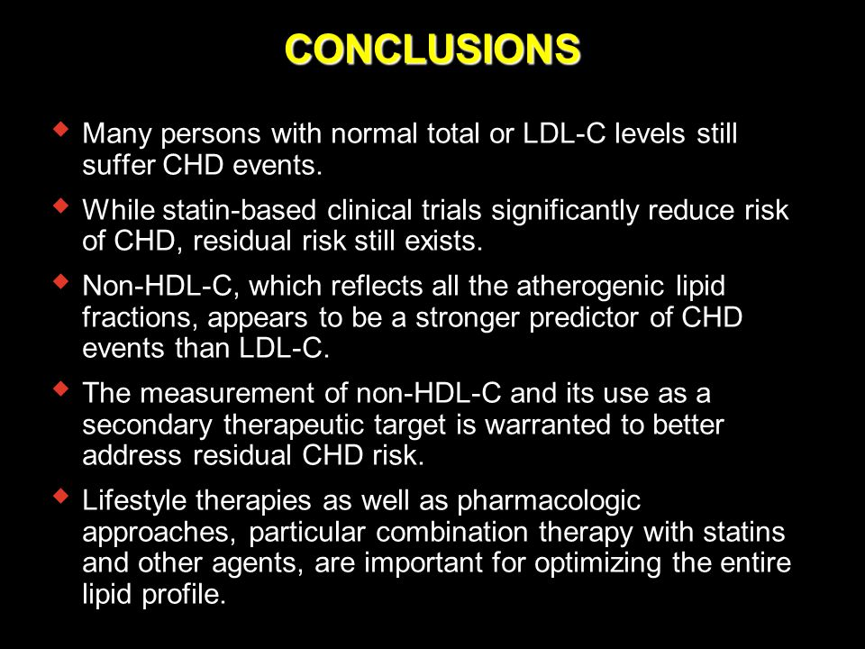 CONCLUSIONS Many persons with normal total or LDL-C levels still suffer CHD events.