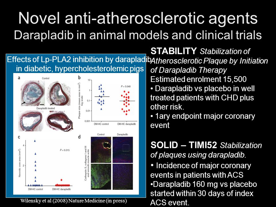 Novel anti-atherosclerotic agents Darapladib in animal models and clinical trials
