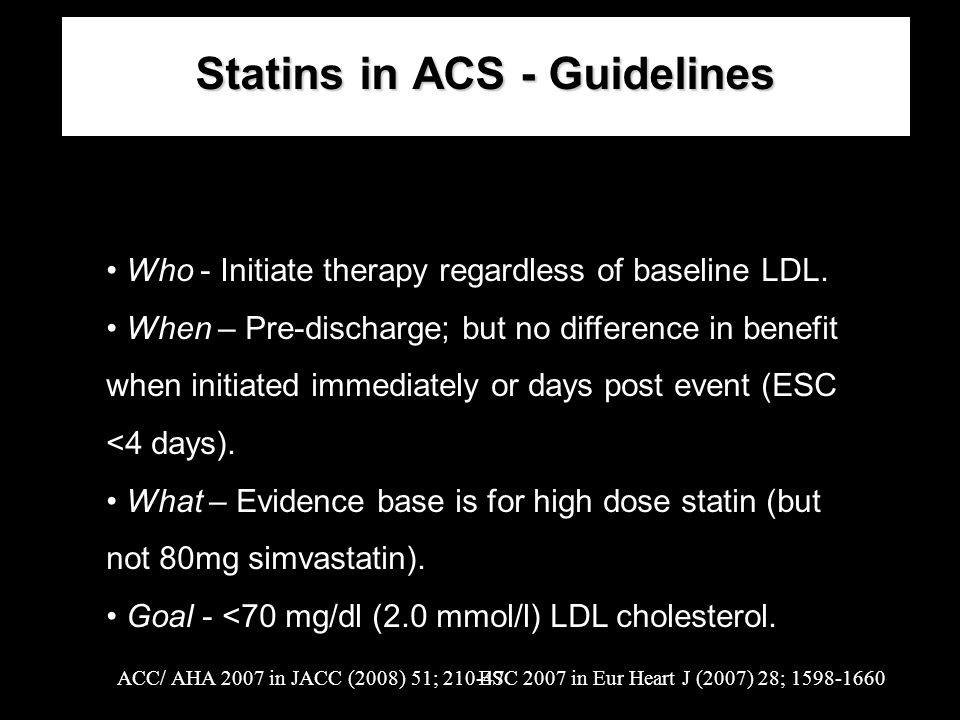 Statins in ACS - Guidelines