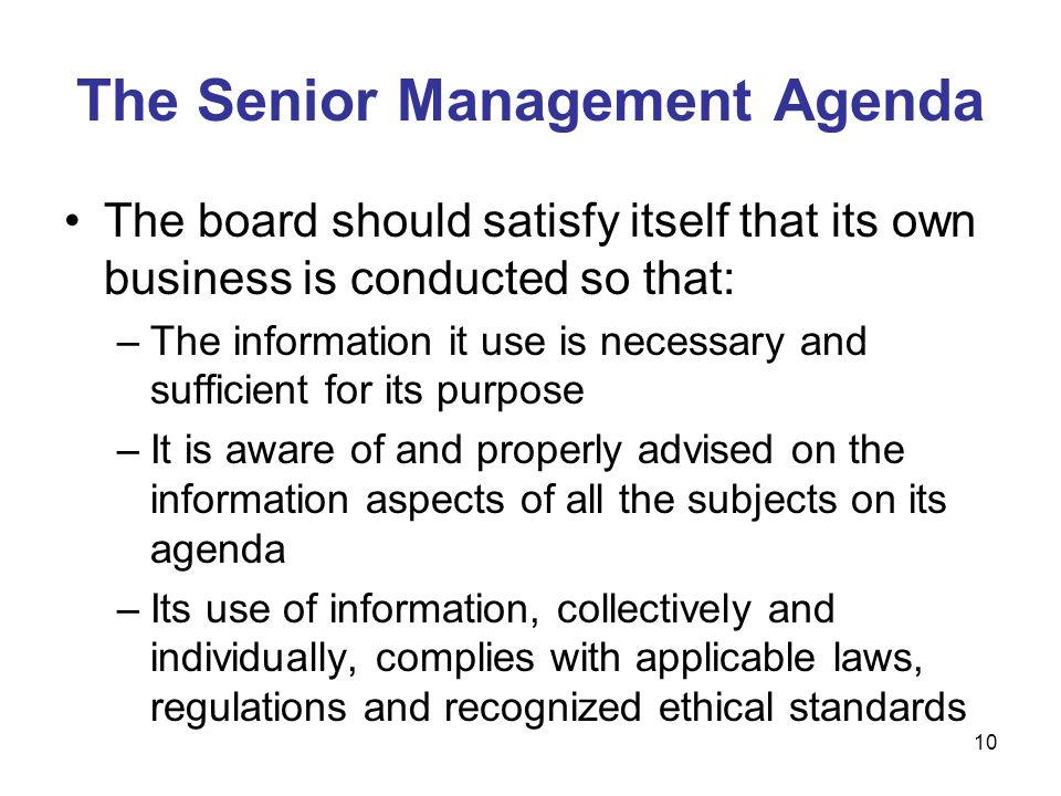 The Senior Management Agenda