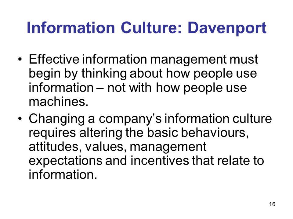 Information Culture: Davenport