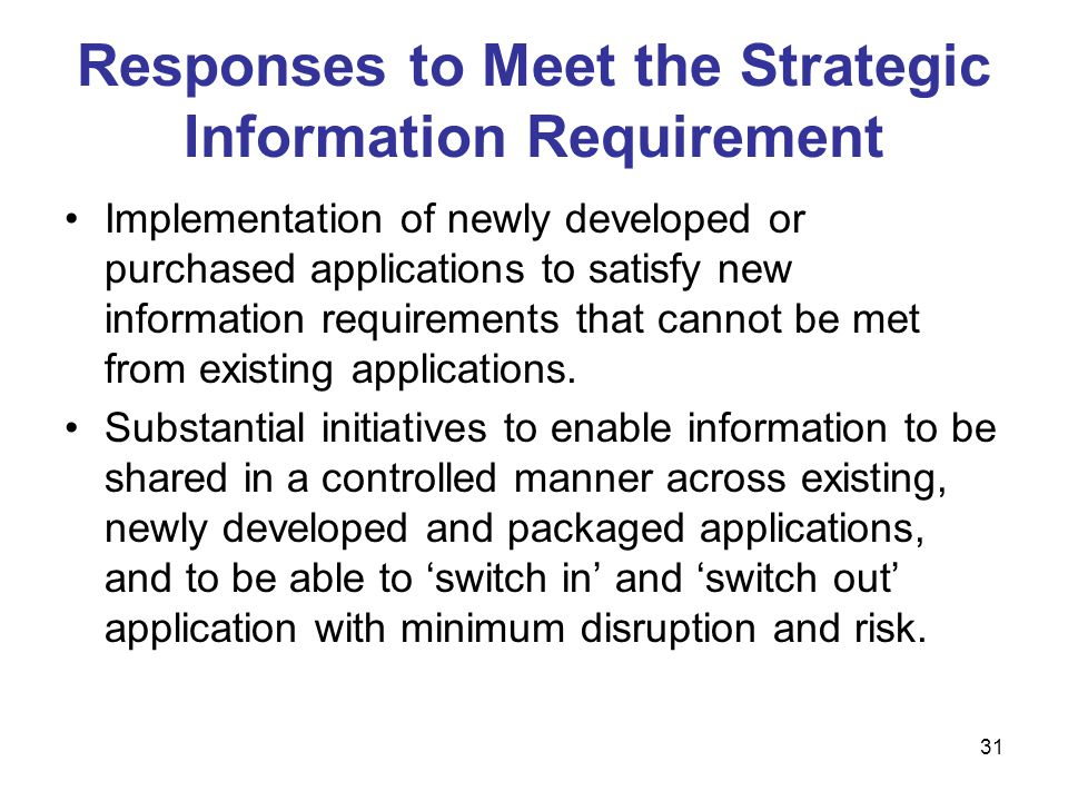 Responses to Meet the Strategic Information Requirement