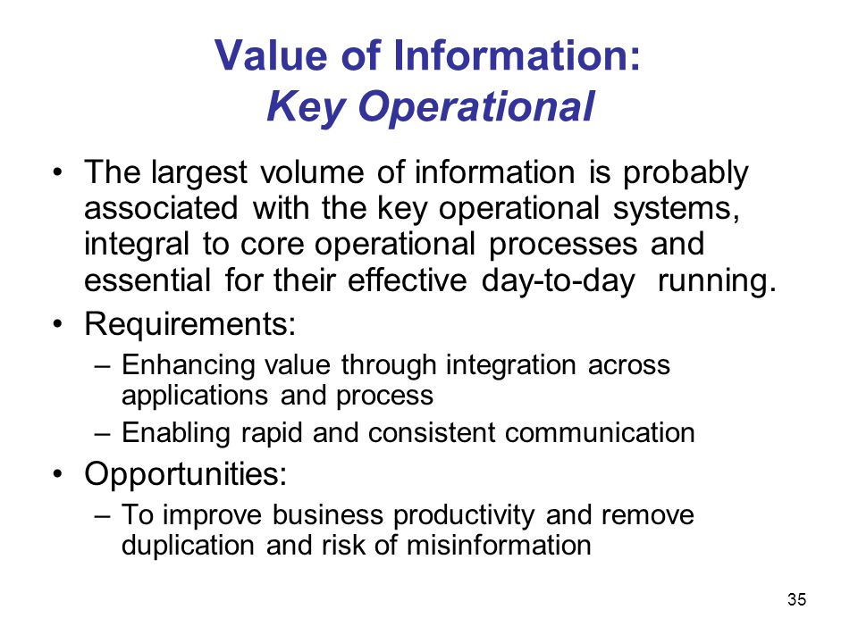 Value of Information: Key Operational