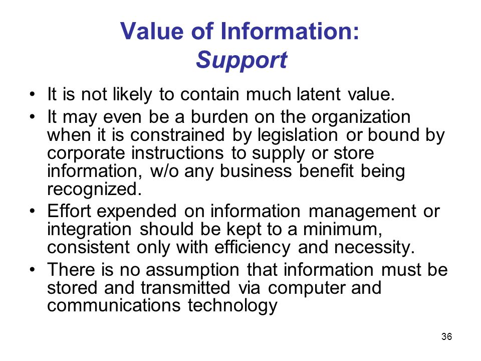 Value of Information: Support