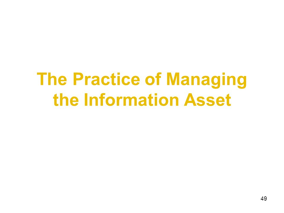 The Practice of Managing the Information Asset