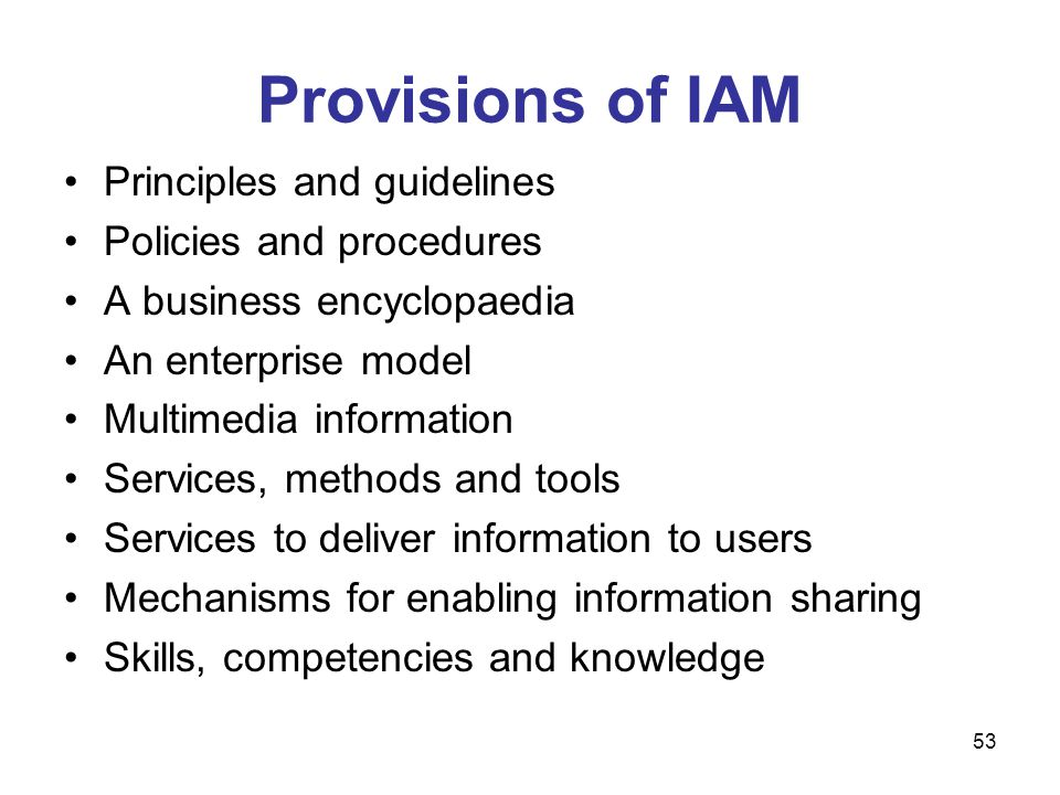 Provisions of IAM Principles and guidelines Policies and procedures