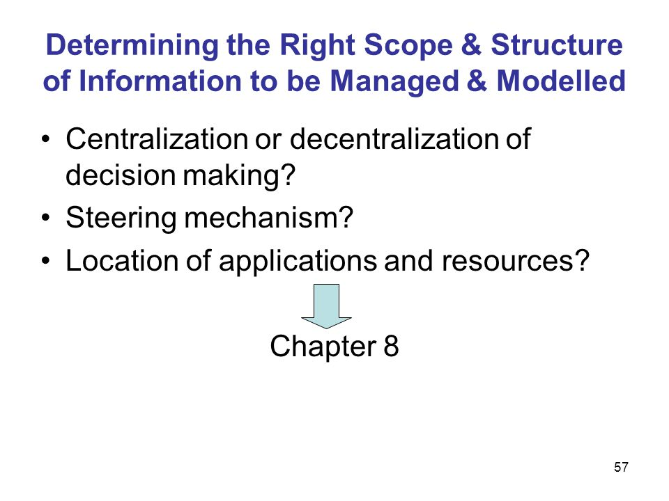 Determining the Right Scope & Structure of Information to be Managed & Modelled