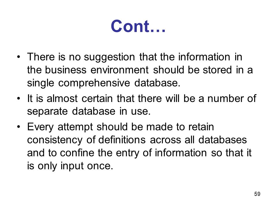 Cont… There is no suggestion that the information in the business environment should be stored in a single comprehensive database.