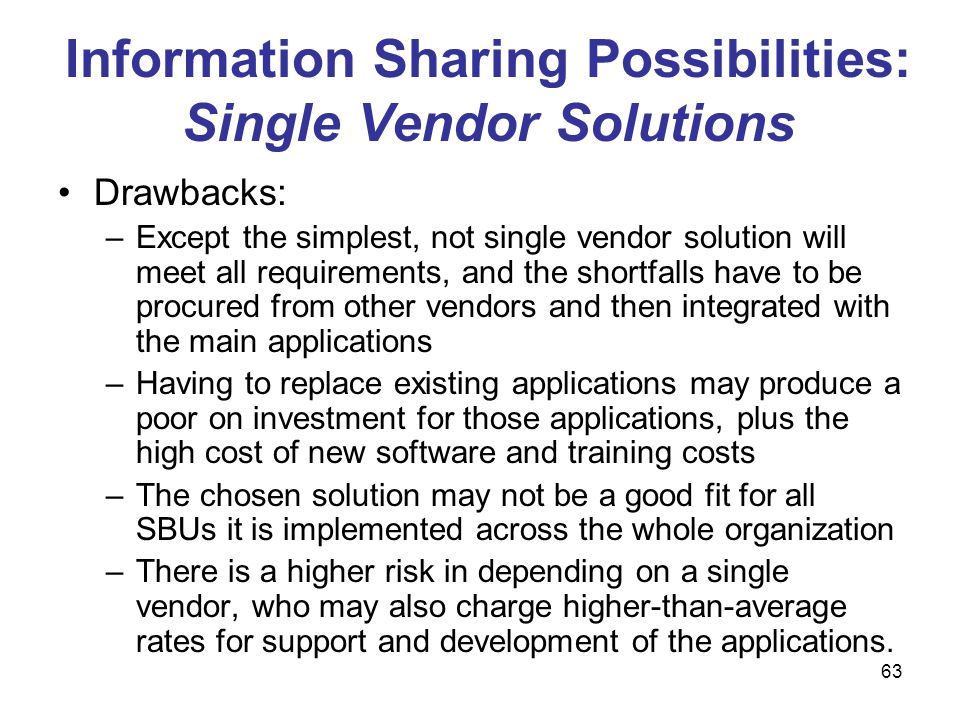 Information Sharing Possibilities: Single Vendor Solutions