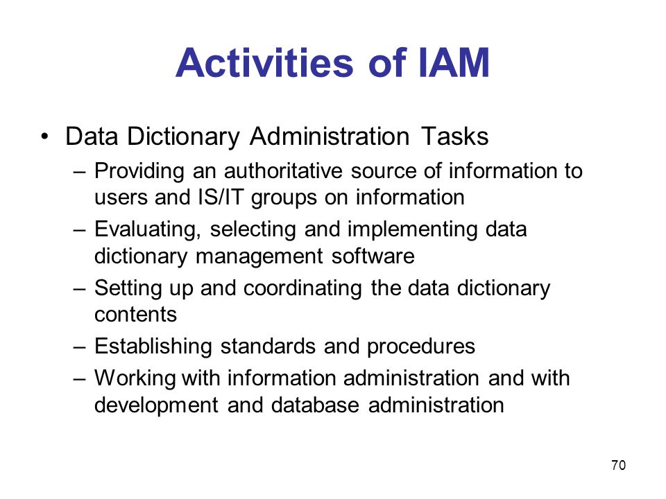 Activities of IAM Data Dictionary Administration Tasks