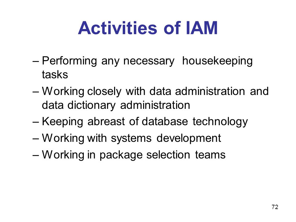 Activities of IAM Performing any necessary housekeeping tasks