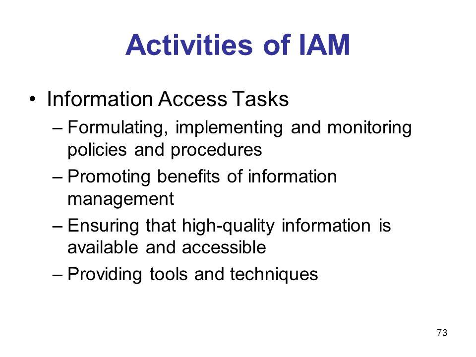 Activities of IAM Information Access Tasks