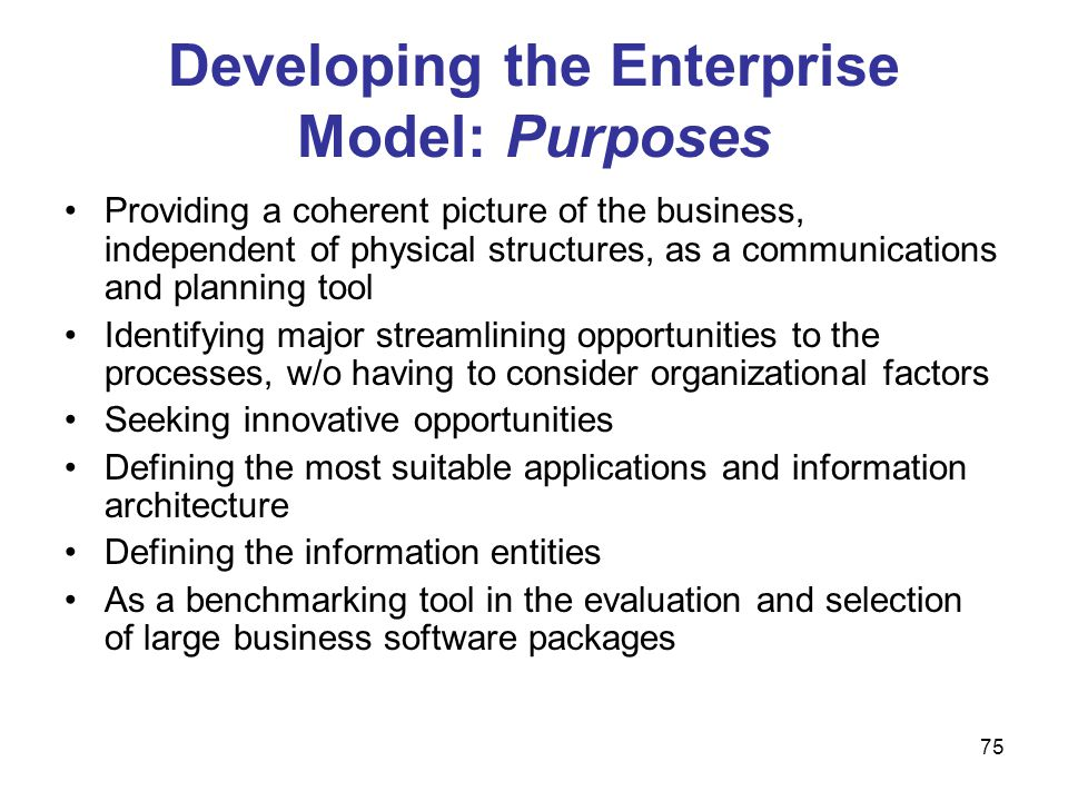 Developing the Enterprise Model: Purposes