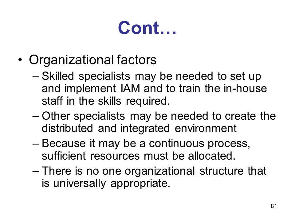 Cont… Organizational factors