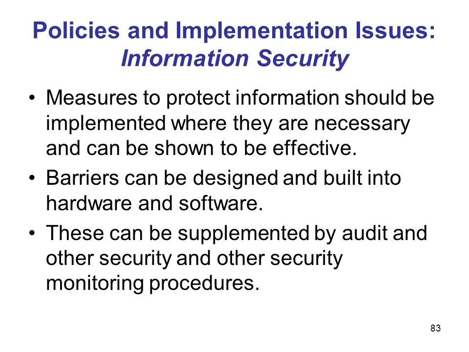 Policies and Implementation Issues: Information Security