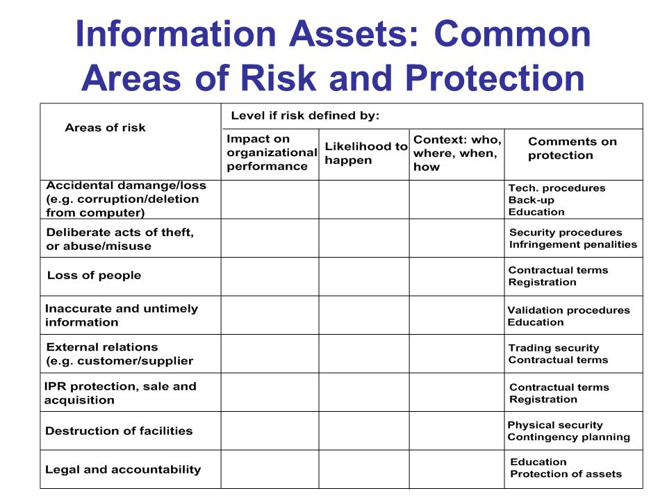 Information Assets: Common Areas of Risk and Protection