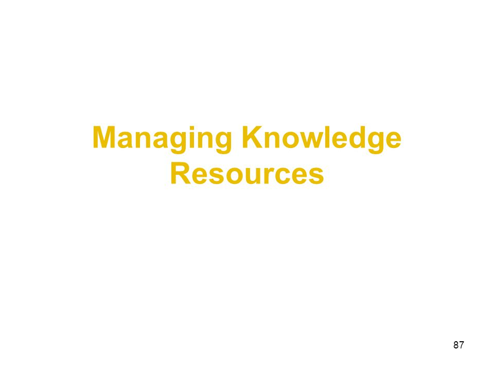 Managing Knowledge Resources