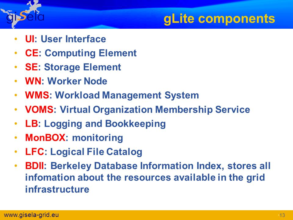 gLite components UI: User Interface CE: Computing Element