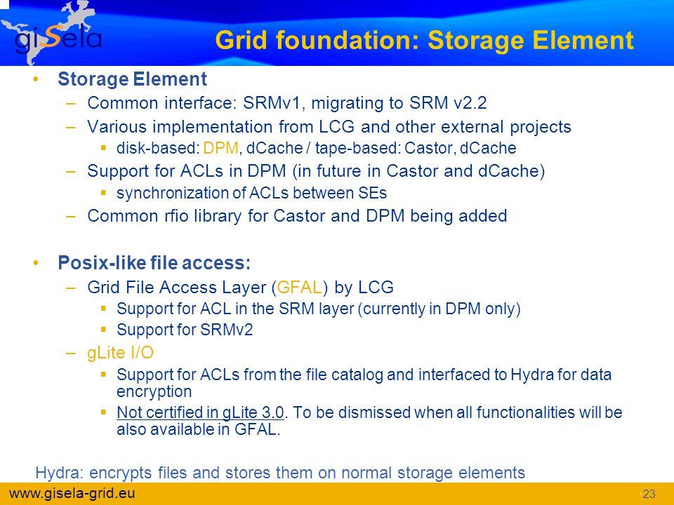 Grid foundation: Storage Element