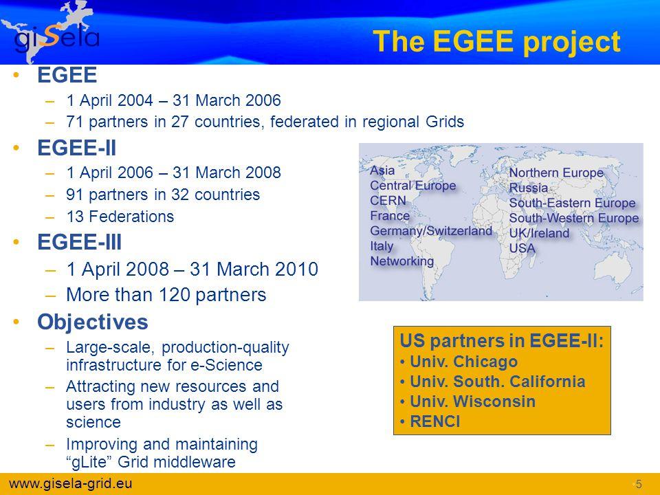 The EGEE project EGEE EGEE-II EGEE-III Objectives
