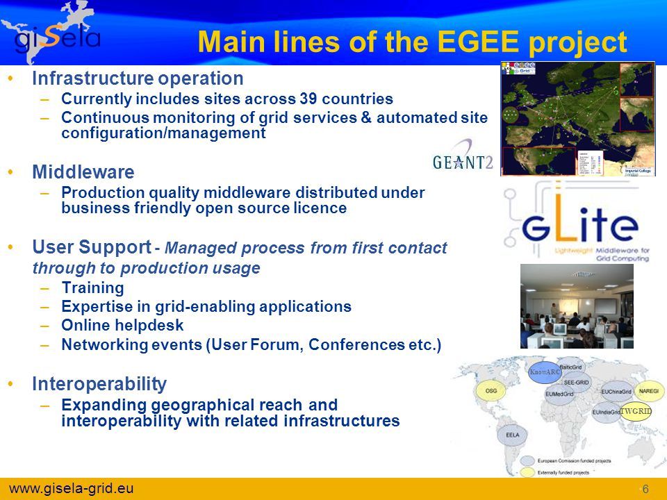 Main lines of the EGEE project