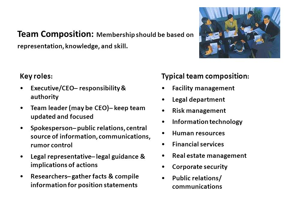 Team Composition: Membership should be based on representation, knowledge, and skill.