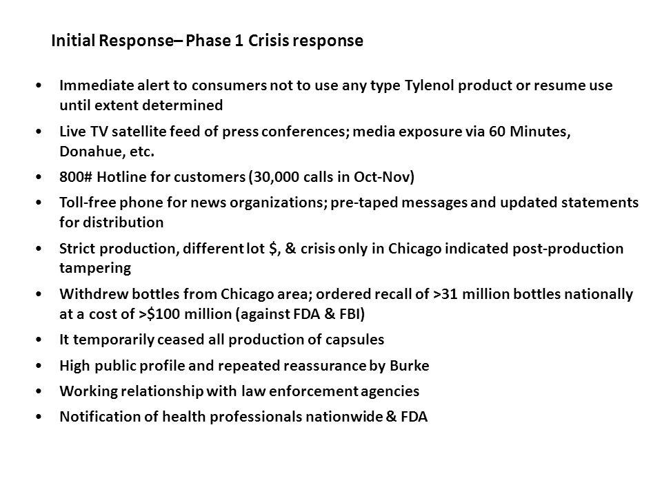 Initial Response– Phase 1 Crisis response