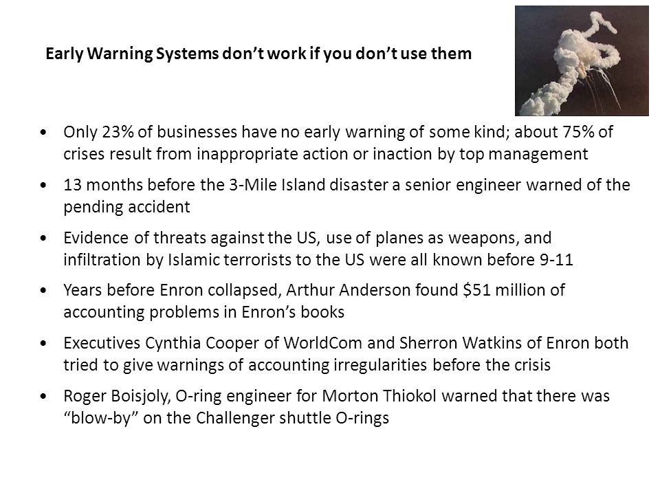 Early Warning Systems don't work if you don't use them
