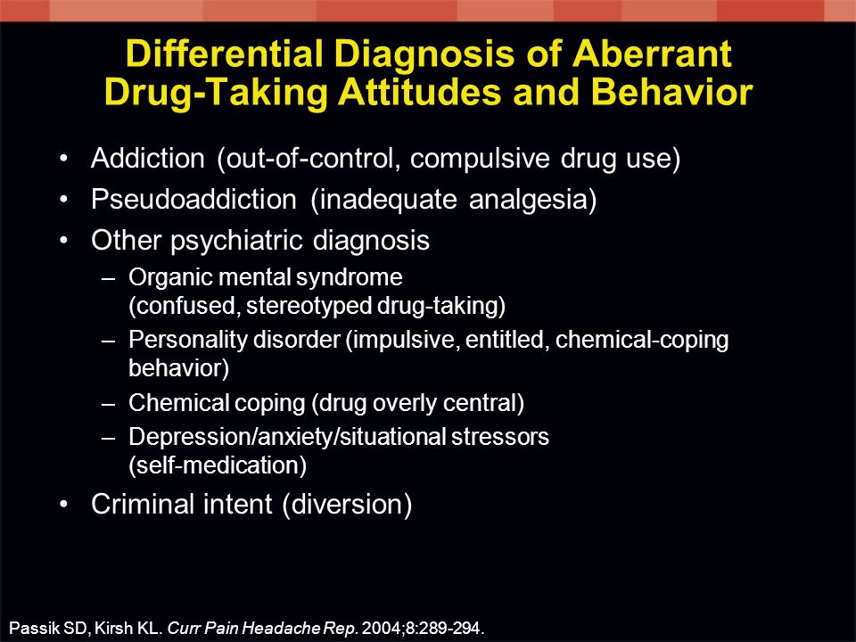 Differential Diagnosis of Aberrant Drug-Taking Attitudes and Behavior