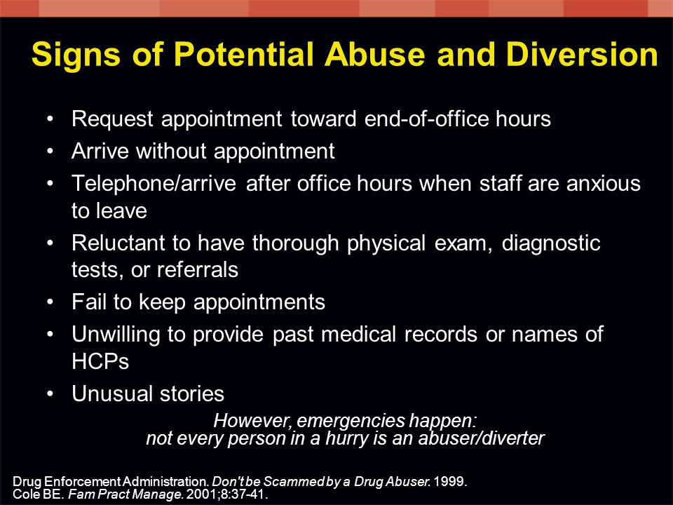 Signs of Potential Abuse and Diversion