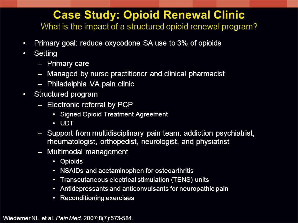 Case Study: Opioid Renewal Clinic What is the impact of a structured opioid renewal program