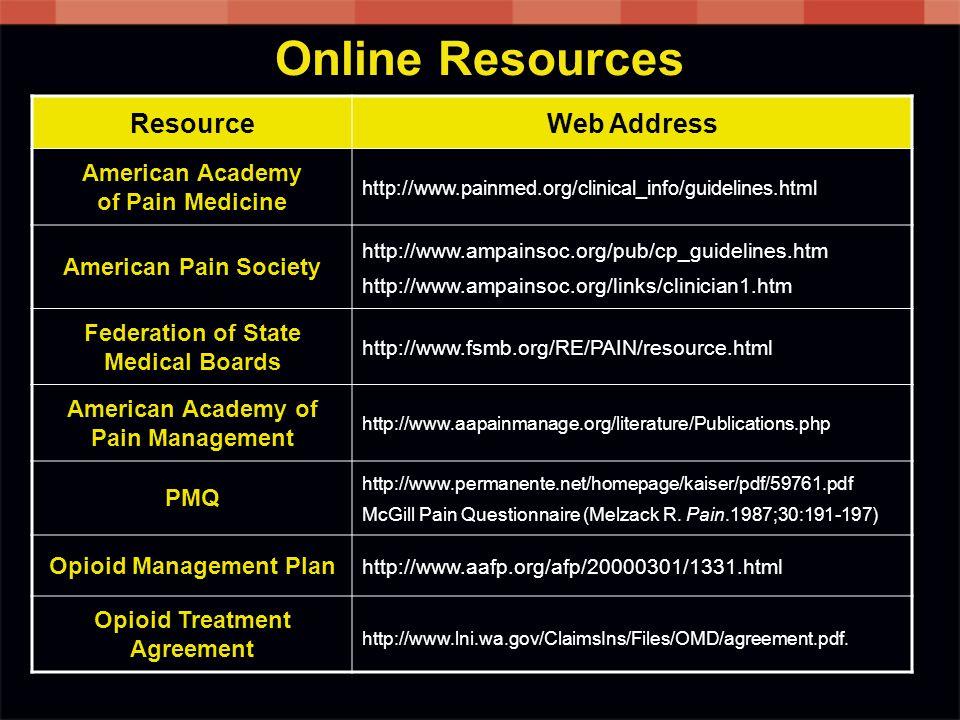 Online Resources Resource Web Address American Academy