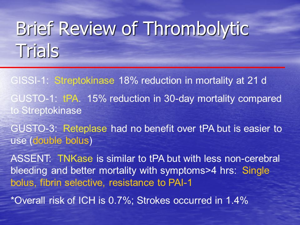 Brief Review of Thrombolytic Trials