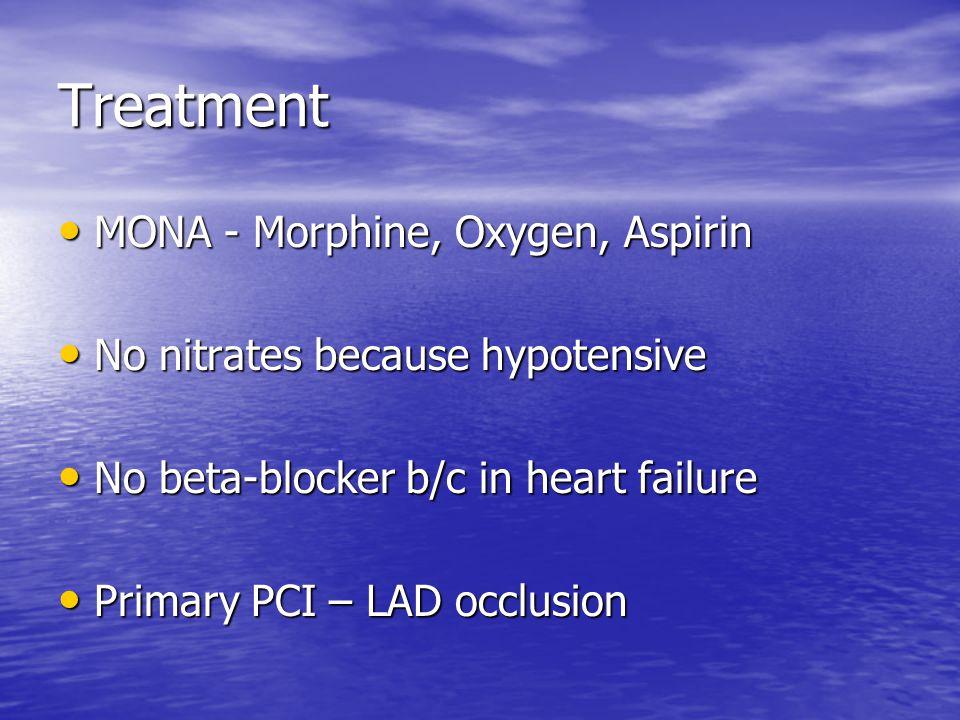 Treatment MONA - Morphine, Oxygen, Aspirin