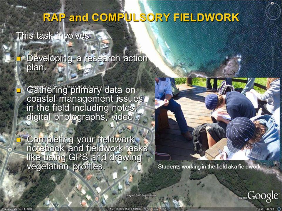 RAP and COMPULSORY FIELDWORK
