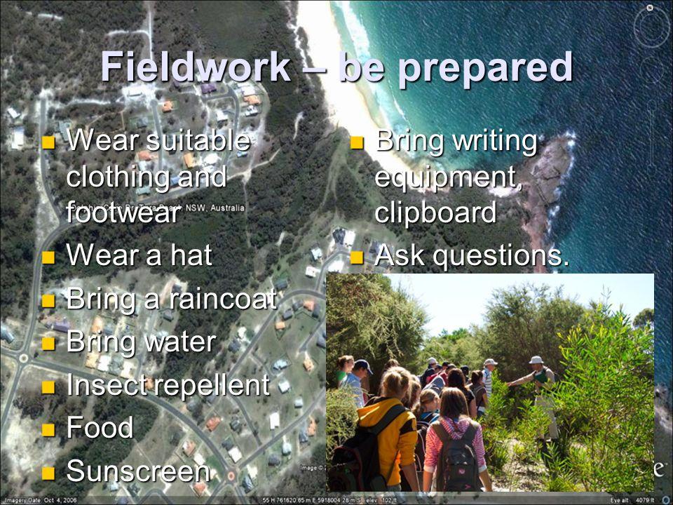 Fieldwork – be prepared