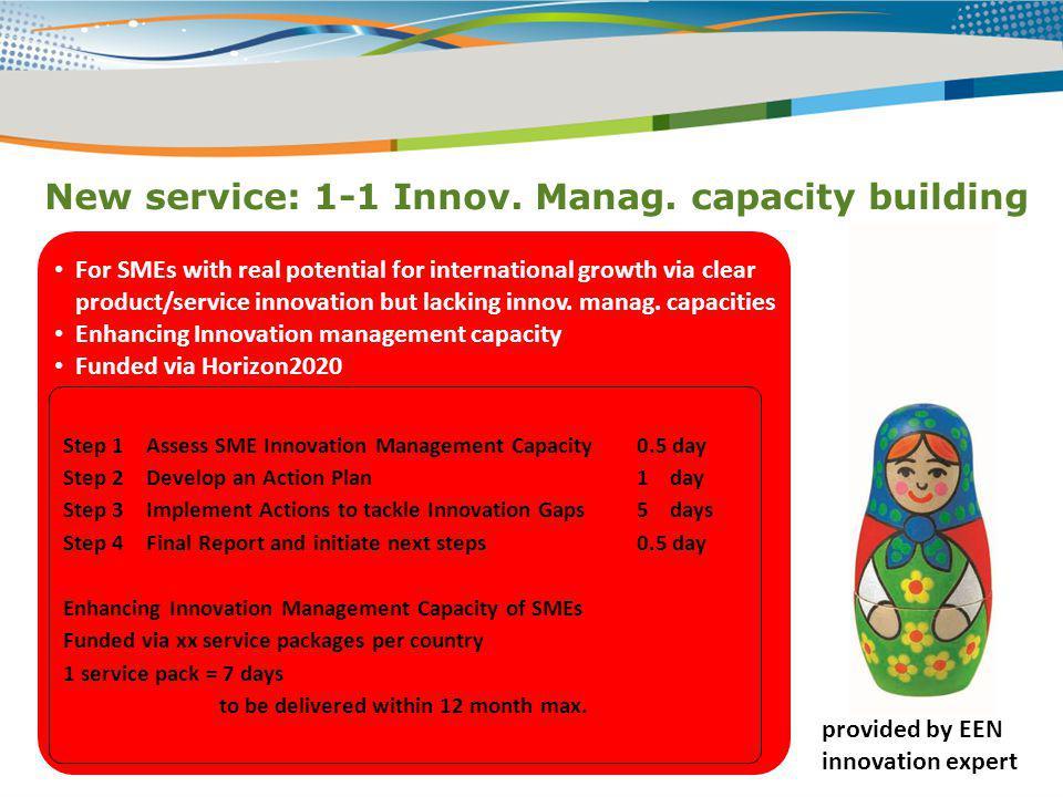 New service: 1-1 Innov. Manag. capacity building