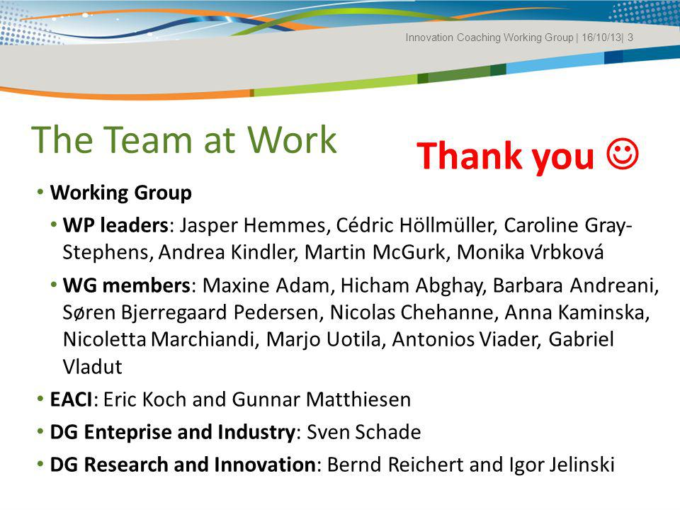 The Team at Work Thank you  Working Group