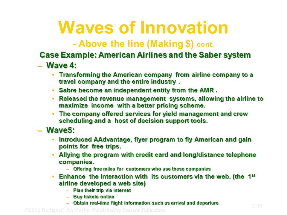 Waves of Innovation - Above the line (Making $) cont.