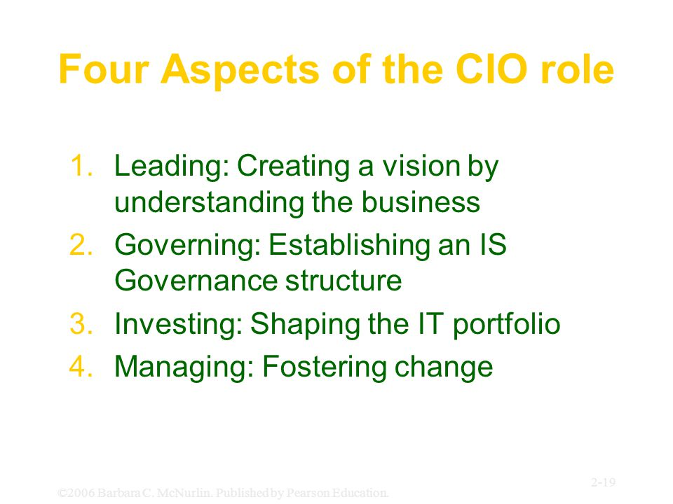 Four Aspects of the CIO role